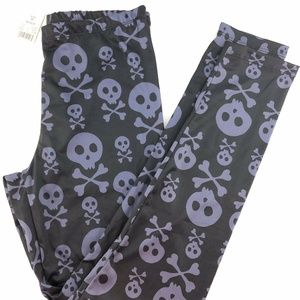 Freeze Skull And Cross Bones Black Leggings Sz M